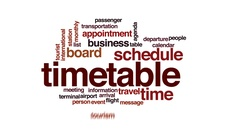 Timetable animated word cloud, text design animation. Stock Footage