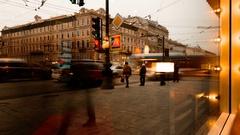 SAINT-PETERSBURG, RUSSIA - NOVEMBER 21, 2016: St. Petersburg, Nevsky Prospect Stock Footage