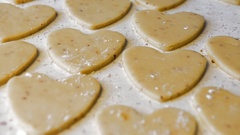 Cookies in the shape of a heart on Valentine's Day. The camera moves. Stock Footage