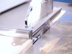 Circular Saw. Cutting Wood in Carpenter workshop Stock Footage