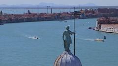 Aerial View Gran Canal, Venice, Camera Pan Stock Footage