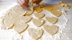Cookies in the shape of a heart on Valentine's Day. Stock Footage