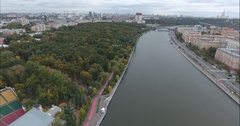 Aerial viev of moscow, river and city Stock Footage