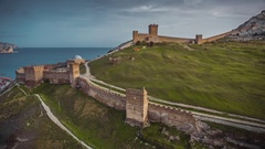 Ancient Genoese Fortress In The City Of Sudak Stock Footage