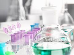 Microcentrifuge tubes awaiting samples during a analytical experiment in the Stock Photos