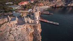 Famous Castle Swallow's Nest On The Rock Stock Footage