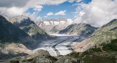 Landscape view of mountains and Aletsch Glacier, Canton Wallis, Switzerland Stock Photos