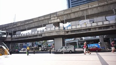 Bangkok transportation street view of road and elevated rail for skytrain BTS Stock Footage