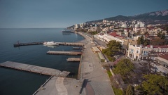 Yalta Embankment With Background Of Crimean Mountains Stock Footage