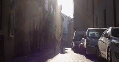 PRAGUE, CZECH REPUBLIC crowded touristic street against blazing sun Stock Footage