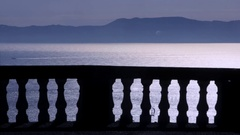 View of Naples bay through a colonnade Stock Footage