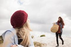 Young woman arriving at beach with picnic basket, Western Cape, South Africa Stock Photos