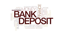Bank deposit animated word cloud, text design animation. Kinetic typography. Stock Footage
