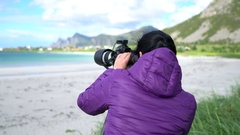 Woman photographs the nature of Norway. Stock Footage
