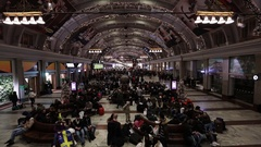 Time lapse of people in the Stockholm Central train station Stock Footage