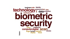 Biometric security animated word cloud, text design animation. Stock Footage