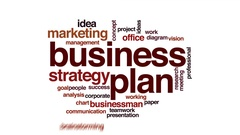 Business plan animated word cloud, text design animation. Stock Footage