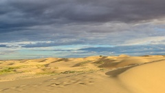 Storm clouds before rain in the salted lake Durgun Nuur, Mongolia. Full HD Stock Footage