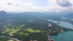 Aerial panorama view on Cheow Lan Lak in Thailand Stock Footage