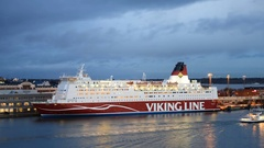 Time lapse of M/S Mariella of Viking Line in Helsinki, Finland Arkistovideo