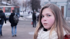 Funny girl making crazy faces Stock Footage