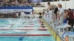 Mixed gender medley relay during Salnikov Cup Stock Footage