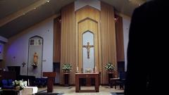 Modern Church Aisle Dolly Stock Footage