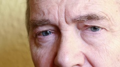 Detail Of Elderly Old Man's Eye, Half Face With Tough Expression Stock Footage