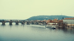 Panoramic view of Charles Bridge in Prague in a beautiful summer day, Czech Stock Footage