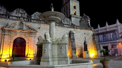 Fountain at the Plaza de San Francisco in the Old Havana by night. Cuba Stock Footage