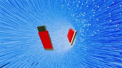 Flying usb flash drive in blue tunnel Stock Footage