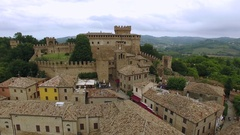 Aerial view of Gradara castle on Marche, Italy. Stock Footage