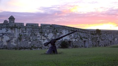 Old cannon at the Fort of Saint Charles (La Cabana). Havana, Cuba Stock Footage