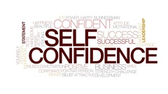 Self confidence animated word cloud, text design animation. Kinetic typography. Stock Footage