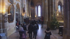 People in St. Vitus Cathedral in Hradcany, Prague, Czech Republic Stock Footage