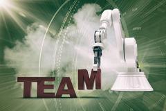 Composite image of robotic arm arranging team text 3d Stock Illustration