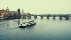 Prague Castle with famous Charles Bridge in Czech Republic Stock Footage