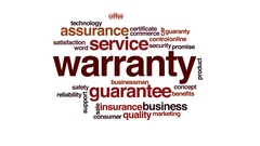 Warranty animated word cloud, text design animation. Stock Footage