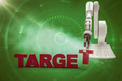 Composite image of robotic arm arranging target text 3d Stock Illustration
