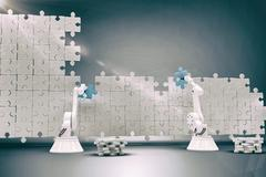Composite image of robotic arms setting up blue jigsaw piece on puzzle 3d Stock Illustration