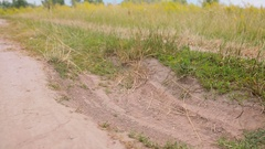 Closeup of SUV riding through pit in the dirt road at countryside Stock Footage