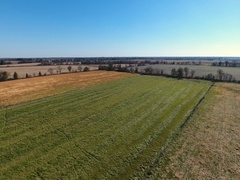 Aerial over farm land in Missouri Stock Footage