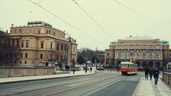 The modern European city with trams Prague, Czech Republic Stock Footage