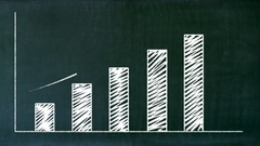 Illustrated profit chart with success arrow. Stock Footage