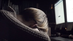 Girl lying at office desk close-up Stock Footage