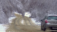 Driving along road with fallen trees, after intense ice storm Stock Footage