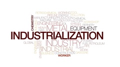 Industrialization animated word cloud, text animation. Kinetic typography. Stock Footage