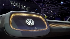 Dolly in to cockpit of  VW autonomous self-driving I.D. van at Detroit Auto Show Stock Footage