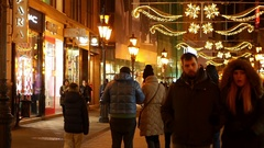 People in the Vaci utca street in Budapest Stock Footage