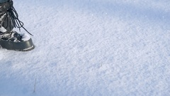 Girl draws heart on snow in Valentine's Day Stock Footage